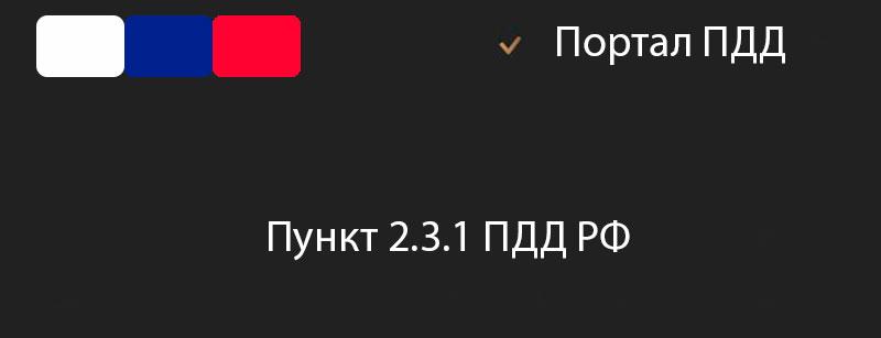 Пункт 2.3.1 ПДД РФ